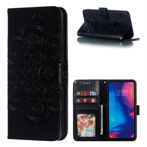 Intricate Embossing Datura Solar Leather Wallet Case for Xiaomi Mi Redmi Note 7 / Note 7 Pro - Black