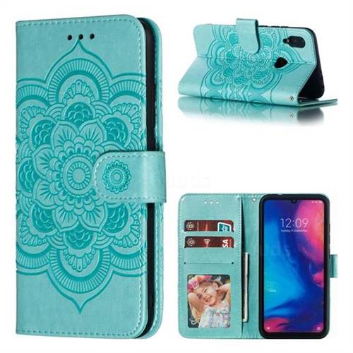 Intricate Embossing Datura Solar Leather Wallet Case for Xiaomi Mi Redmi Note 7 / Note 7 Pro - Green