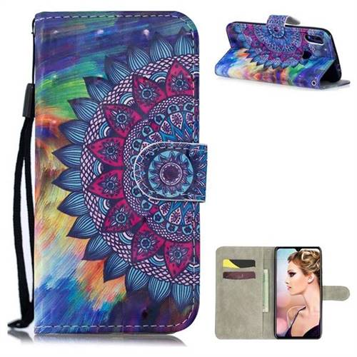 Oil Painting Mandala 3D Painted Leather Wallet Phone Case for Xiaomi Mi Redmi Note 7 / Note 7 Pro