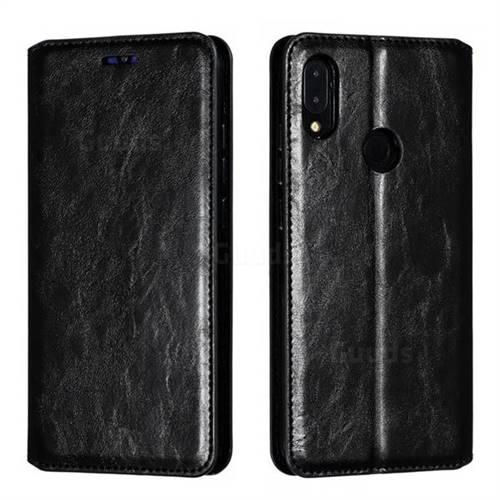 Retro Slim Magnetic Crazy Horse PU Leather Wallet Case for Xiaomi Mi Redmi Note 7 / Note 7 Pro - Black