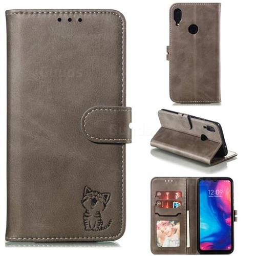 Embossing Happy Cat Leather Wallet Case for Xiaomi Mi Redmi Note 7 / Note 7 Pro - Gray