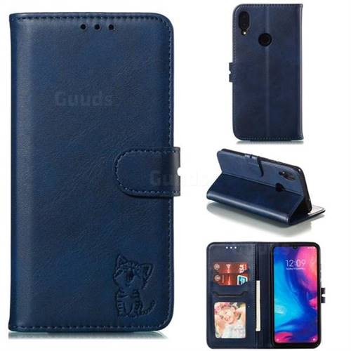 Embossing Happy Cat Leather Wallet Case for Xiaomi Mi Redmi Note 7 / Note 7 Pro - Blue