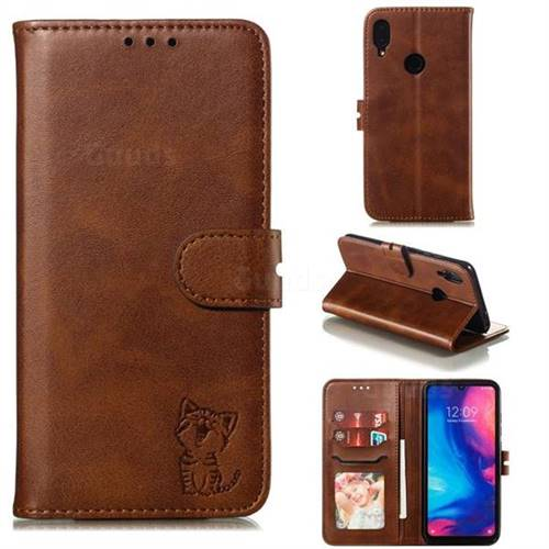 Embossing Happy Cat Leather Wallet Case for Xiaomi Mi Redmi Note 7 / Note 7 Pro - Brown