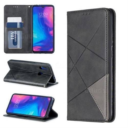 Prismatic Slim Magnetic Sucking Stitching Wallet Flip Cover for Xiaomi Mi Redmi Note 7 / Note 7 Pro - Black