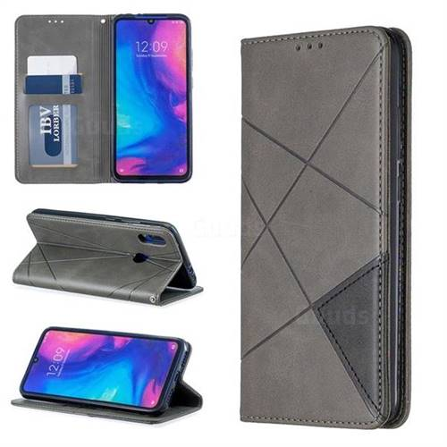 Prismatic Slim Magnetic Sucking Stitching Wallet Flip Cover for Xiaomi Mi Redmi Note 7 / Note 7 Pro - Gray