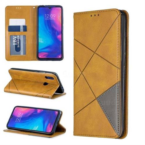 Prismatic Slim Magnetic Sucking Stitching Wallet Flip Cover for Xiaomi Mi Redmi Note 7 / Note 7 Pro - Yellow