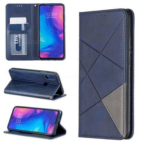 Prismatic Slim Magnetic Sucking Stitching Wallet Flip Cover for Xiaomi Mi Redmi Note 7 / Note 7 Pro - Blue