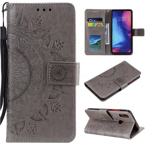 Intricate Embossing Datura Leather Wallet Case for Xiaomi Mi Redmi Note 7 / Note 7 Pro - Gray