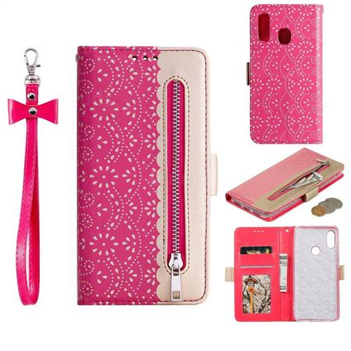 Luxury Lace Zipper Stitching Leather Phone Wallet Case for Xiaomi Mi Redmi Note 7 / Note 7 Pro - Rose