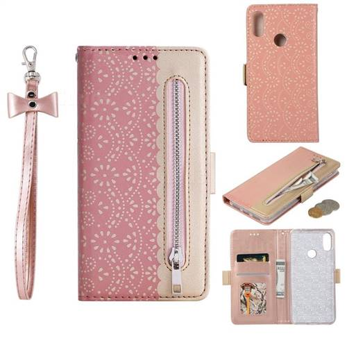 Luxury Lace Zipper Stitching Leather Phone Wallet Case for Xiaomi Mi Redmi Note 7 / Note 7 Pro - Pink