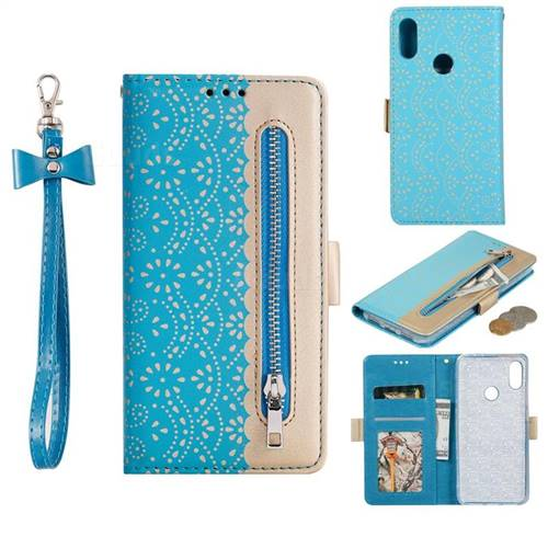 Luxury Lace Zipper Stitching Leather Phone Wallet Case for Xiaomi Mi Redmi Note 7 / Note 7 Pro - Blue