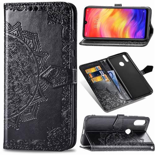 Embossing Imprint Mandala Flower Leather Wallet Case for Xiaomi Mi Redmi Note 7 / Note 7 Pro - Black