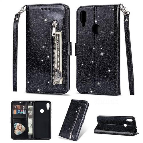 Glitter Shine Leather Zipper Wallet Phone Case for Xiaomi Mi Redmi Note 7 / Note 7 Pro - Black