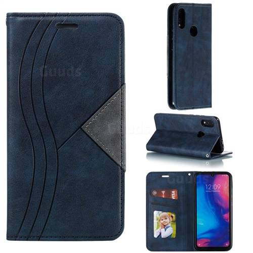 Retro S Streak Magnetic Leather Wallet Phone Case for Xiaomi Mi Redmi Note 7 / Note 7 Pro - Blue