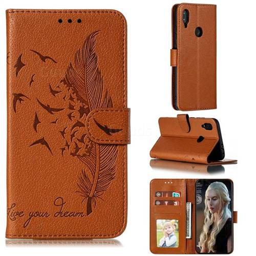 Intricate Embossing Lychee Feather Bird Leather Wallet Case for Xiaomi Mi Redmi Note 7 / Note 7 Pro - Brown