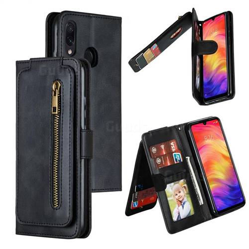 Multifunction 9 Cards Leather Zipper Wallet Phone Case for Xiaomi Mi Redmi Note 7 / Note 7 Pro - Black