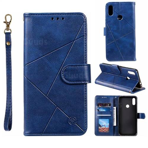 Embossing Geometric Leather Wallet Case for Xiaomi Mi Redmi Note 7 / Note 7 Pro - Blue