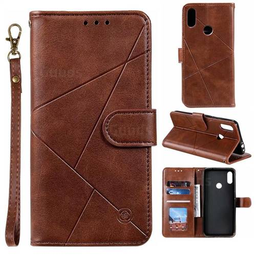 Embossing Geometric Leather Wallet Case for Xiaomi Mi Redmi Note 7 / Note 7 Pro - Brown