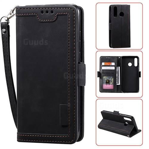 Luxury Retro Stitching Leather Wallet Phone Case for Xiaomi Mi Redmi Note 7 / Note 7 Pro - Black