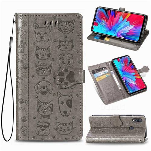 Embossing Dog Paw Kitten and Puppy Leather Wallet Case for Xiaomi Mi Redmi Note 7 / Note 7 Pro - Gray