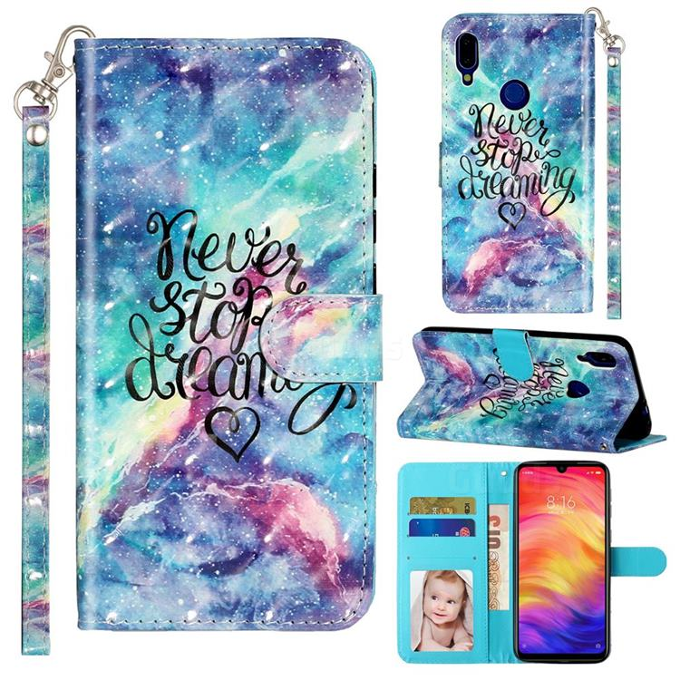 Blue Starry Sky 3D Leather Phone Holster Wallet Case for Xiaomi Mi Redmi Note 7 / Note 7 Pro