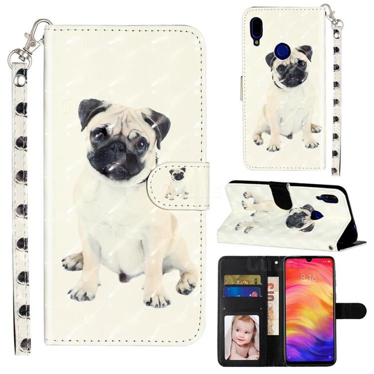 Pug Dog 3D Leather Phone Holster Wallet Case for Xiaomi Mi Redmi Note 7 / Note 7 Pro