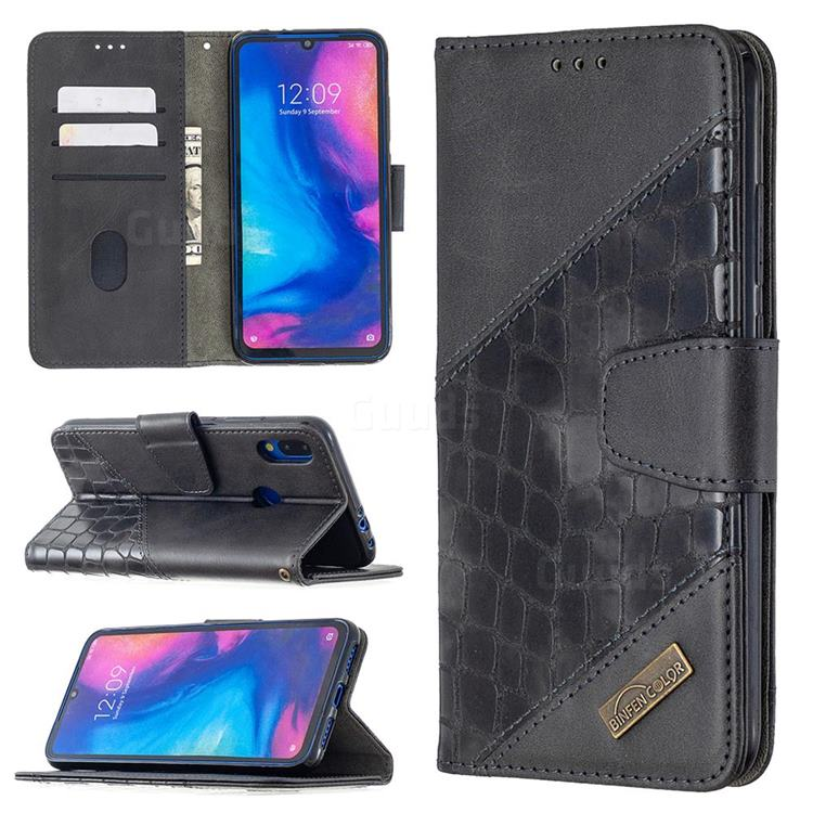 BinfenColor BF04 Color Block Stitching Crocodile Leather Case Cover for Xiaomi Mi Redmi Note 7 / Note 7 Pro - Black