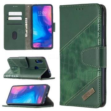 BinfenColor BF04 Color Block Stitching Crocodile Leather Case Cover for Xiaomi Mi Redmi Note 7 / Note 7 Pro - Green