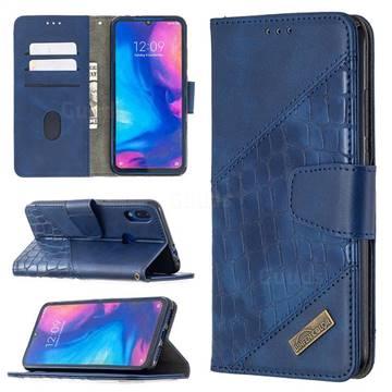 BinfenColor BF04 Color Block Stitching Crocodile Leather Case Cover for Xiaomi Mi Redmi Note 7 / Note 7 Pro - Blue