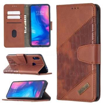 BinfenColor BF04 Color Block Stitching Crocodile Leather Case Cover for Xiaomi Mi Redmi Note 7 / Note 7 Pro - Brown