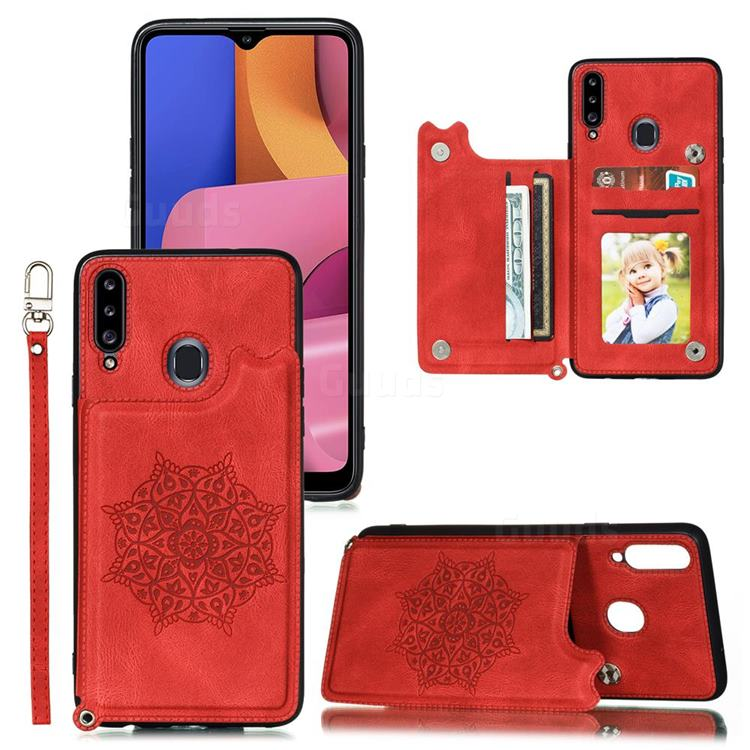 Luxury Mandala Multi-function Magnetic Card Slots Stand Leather Back Cover for Xiaomi Mi Redmi Note 7 / Note 7 Pro - Red