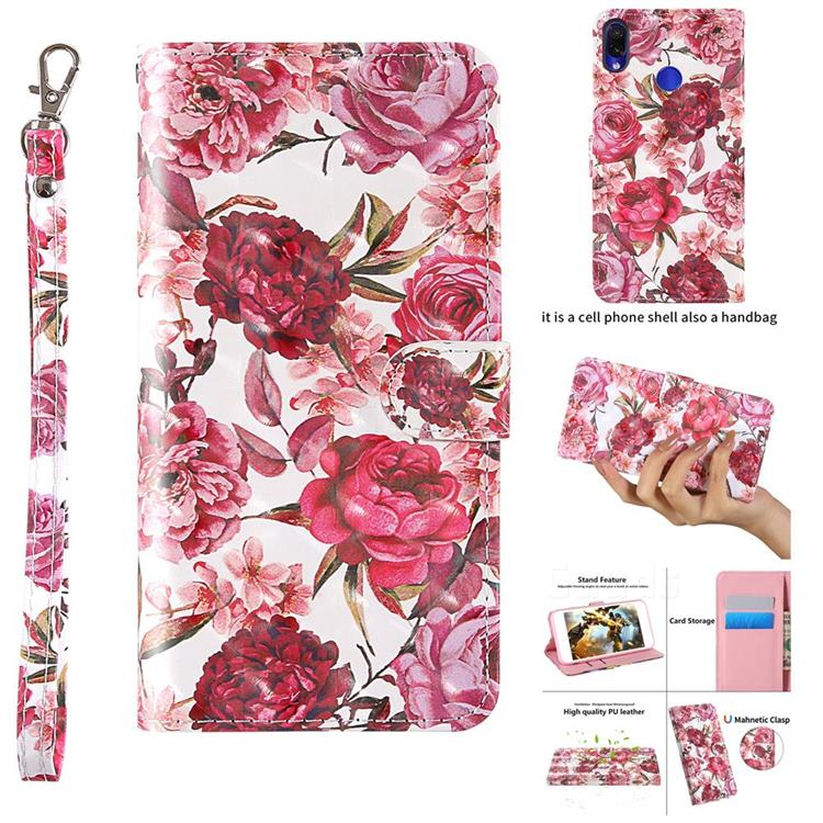 Red Flower 3D Painted Leather Wallet Case for Xiaomi Mi Redmi Note 7 / Note 7 Pro