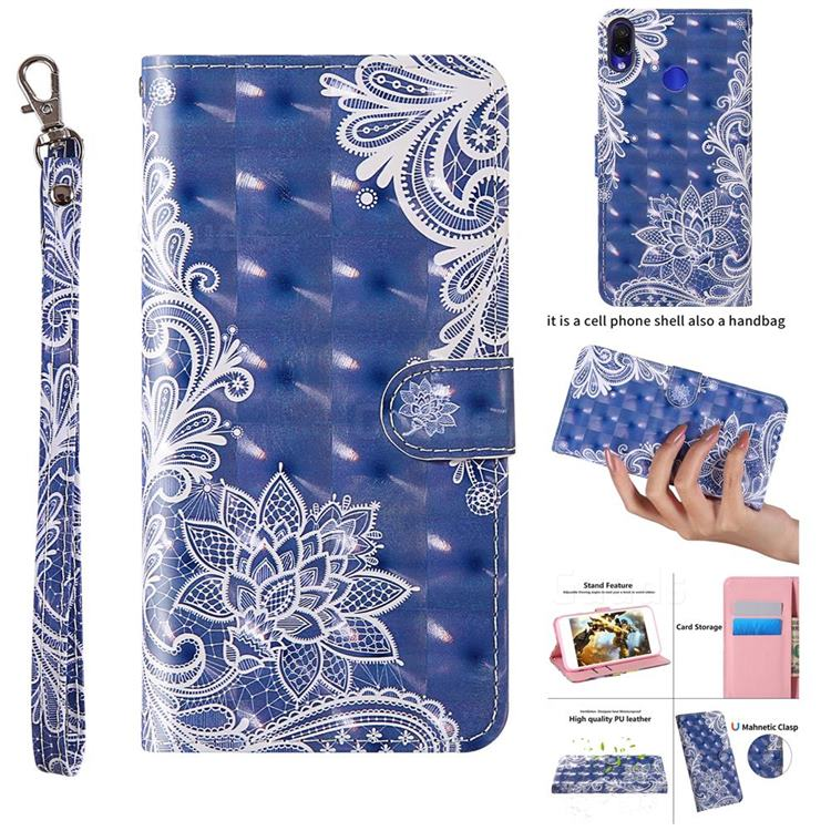 White Lace 3D Painted Leather Wallet Case for Xiaomi Mi Redmi Note 7 / Note 7 Pro