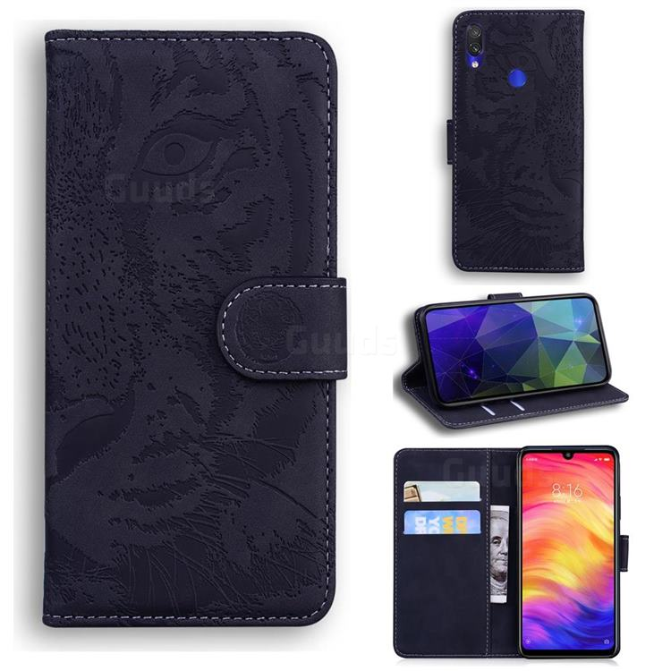 Intricate Embossing Tiger Face Leather Wallet Case for Xiaomi Mi Redmi Note 7 / Note 7 Pro - Black
