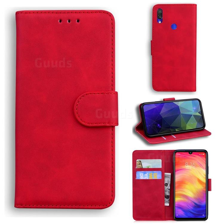 Retro Classic Skin Feel Leather Wallet Phone Case for Xiaomi Mi Redmi Note 7 / Note 7 Pro - Red