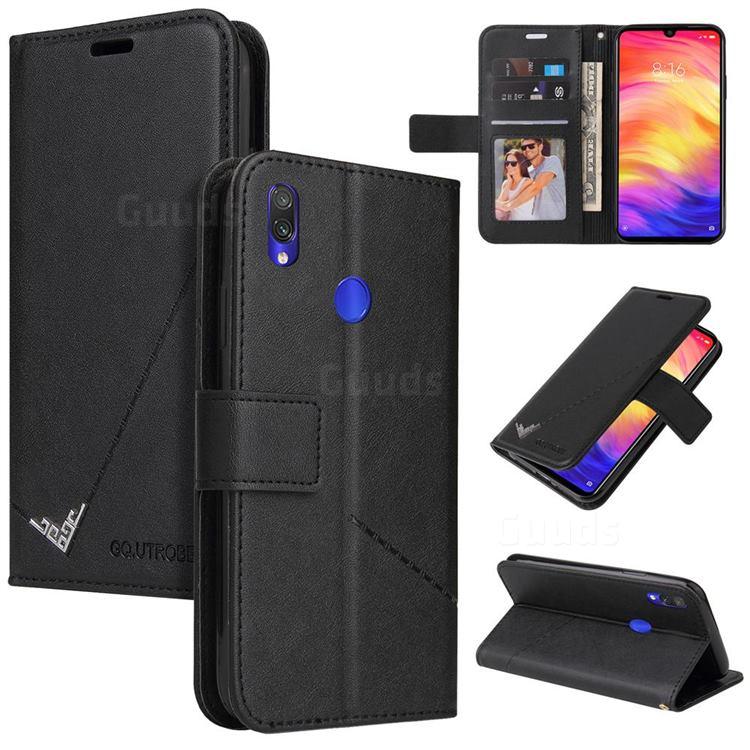 GQ.UTROBE Right Angle Silver Pendant Leather Wallet Phone Case for Xiaomi Mi Redmi Note 7 / Note 7 Pro - Black