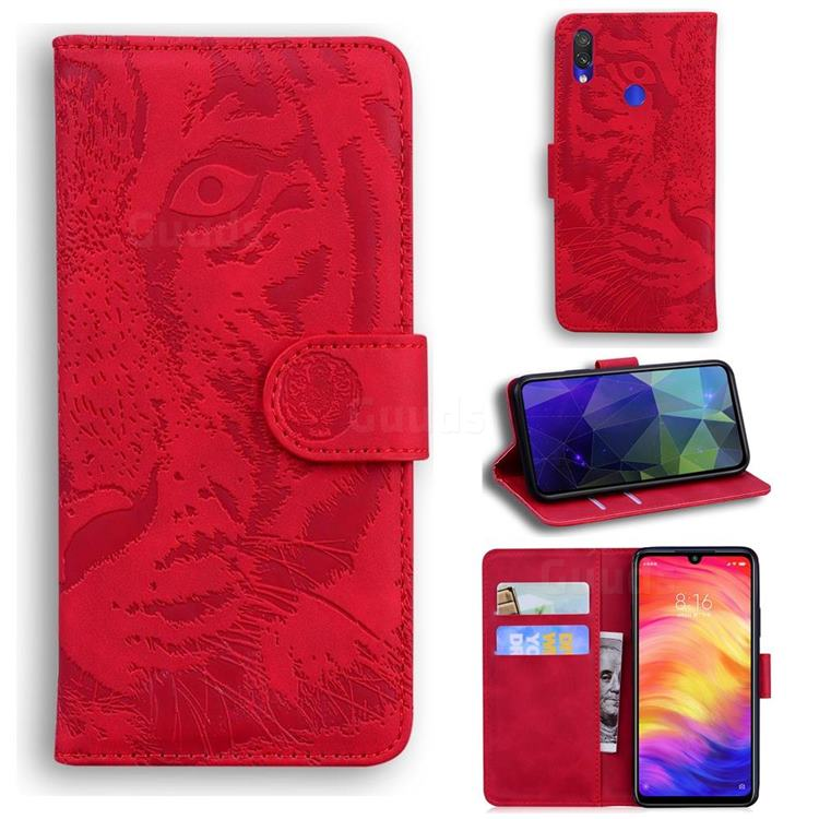 Intricate Embossing Tiger Face Leather Wallet Case for Xiaomi Mi Redmi Note 7S - Red
