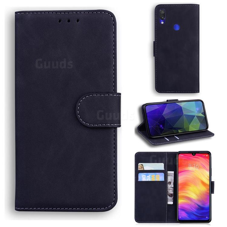 Retro Classic Skin Feel Leather Wallet Phone Case for Xiaomi Mi Redmi Note 7S - Black