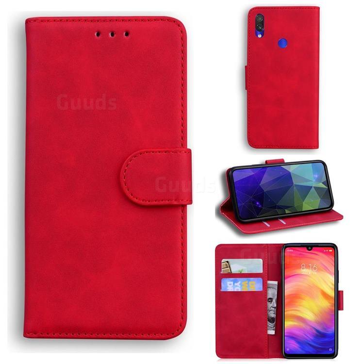 Retro Classic Skin Feel Leather Wallet Phone Case for Xiaomi Mi Redmi Note 7S - Red