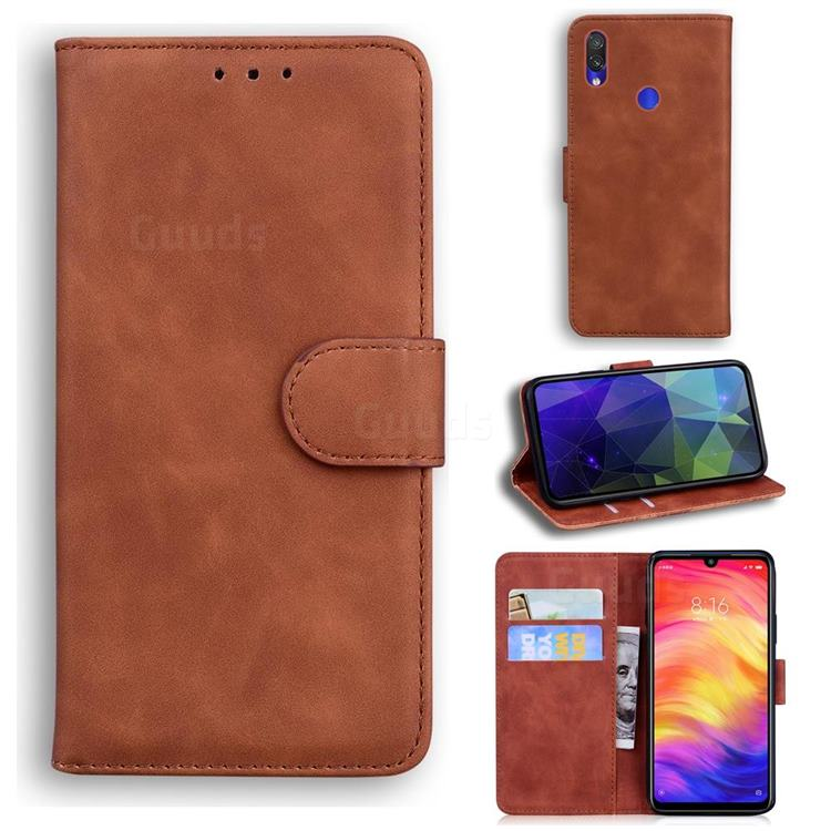 Retro Classic Skin Feel Leather Wallet Phone Case for Xiaomi Mi Redmi Note 7S - Brown