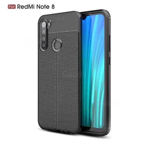 Luxury Auto Focus Litchi Texture Silicone TPU Back Cover for Mi Xiaomi Redmi Note 8 - Black