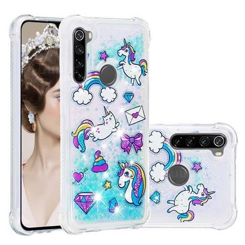 Fashion Unicorn Dynamic Liquid Glitter Sand Quicksand Star TPU Case for Mi Xiaomi Redmi Note 8
