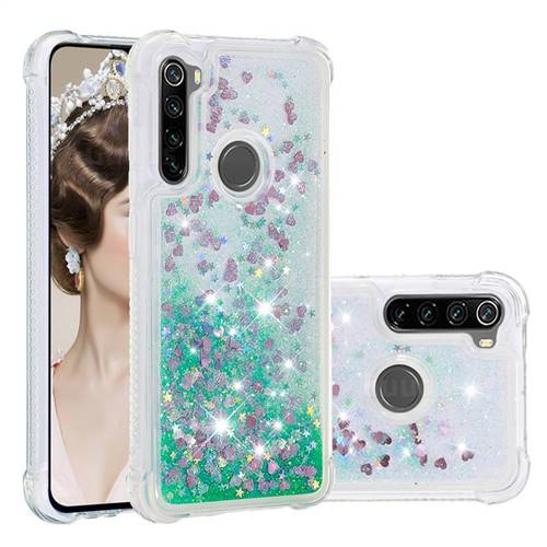 Dynamic Liquid Glitter Sand Quicksand TPU Case for Mi Xiaomi Redmi Note 8 - Green Love Heart