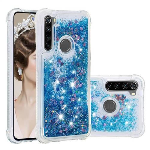 Dynamic Liquid Glitter Sand Quicksand TPU Case for Mi Xiaomi Redmi Note 8 - Blue Love Heart
