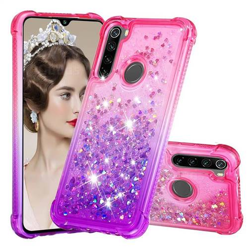 Rainbow Gradient Liquid Glitter Quicksand Sequins Phone Case for Mi Xiaomi Redmi Note 8 - Pink Purple