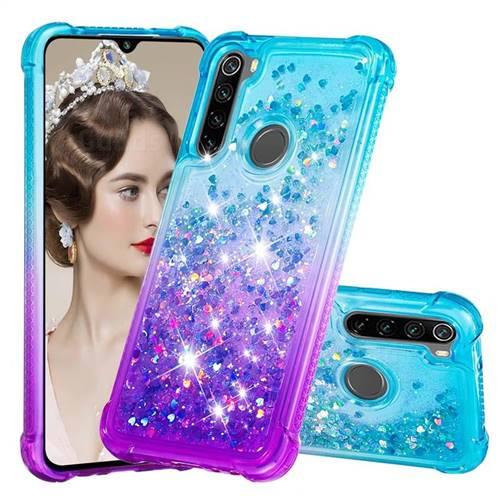 Rainbow Gradient Liquid Glitter Quicksand Sequins Phone Case for Mi Xiaomi Redmi Note 8 - Blue Purple