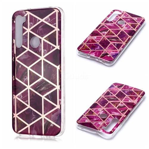 Purple Rhombus Galvanized Rose Gold Marble Phone Back Cover for Mi Xiaomi Redmi Note 8