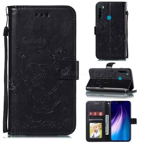 Embossing Butterfly Heart Bear Leather Wallet Case for Mi Xiaomi Redmi Note 8 - Black