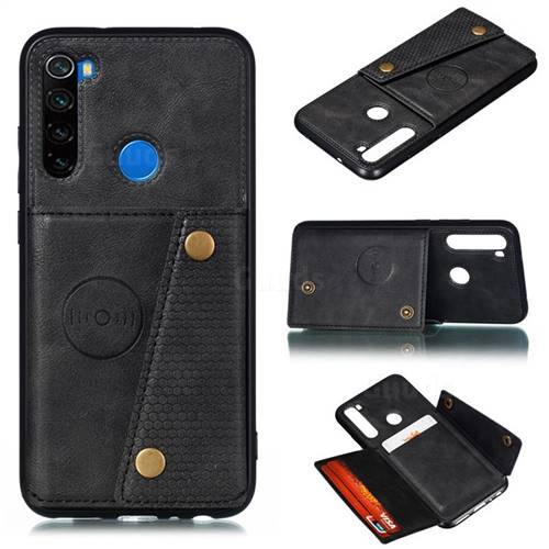 Retro Multifunction Card Slots Stand Leather Coated Phone Back Cover for Mi Xiaomi Redmi Note 8 - Black