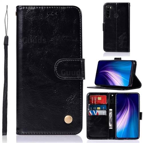 Luxury Retro Leather Wallet Case for Mi Xiaomi Redmi Note 8 - Black